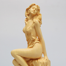 Boxwood Carving Solid Wood Handles Home Accessories Beauty Characters Chinese Style Living Room Decoration Crafts Goddess