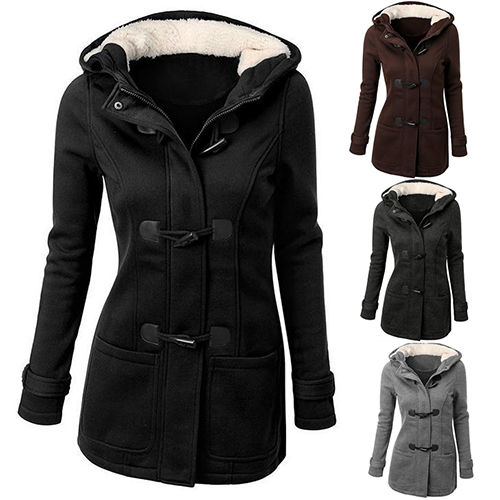 Women s Winter Classic Style Flocked Hooded Toggle Duffle Coat Jacket Outerwear