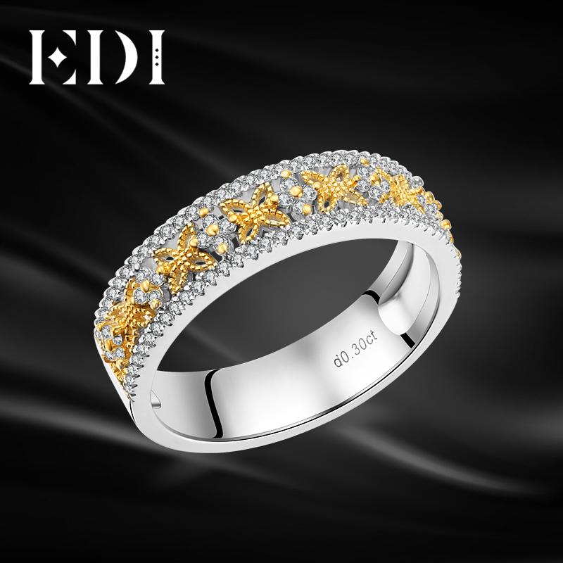 EDI Trendy Butterfly Natural Diamond Wedding Bands 14K Two-tone Gold Engagement Ring For Women Jewelry one piece trendy rhinestone butterfly ear cuff for women