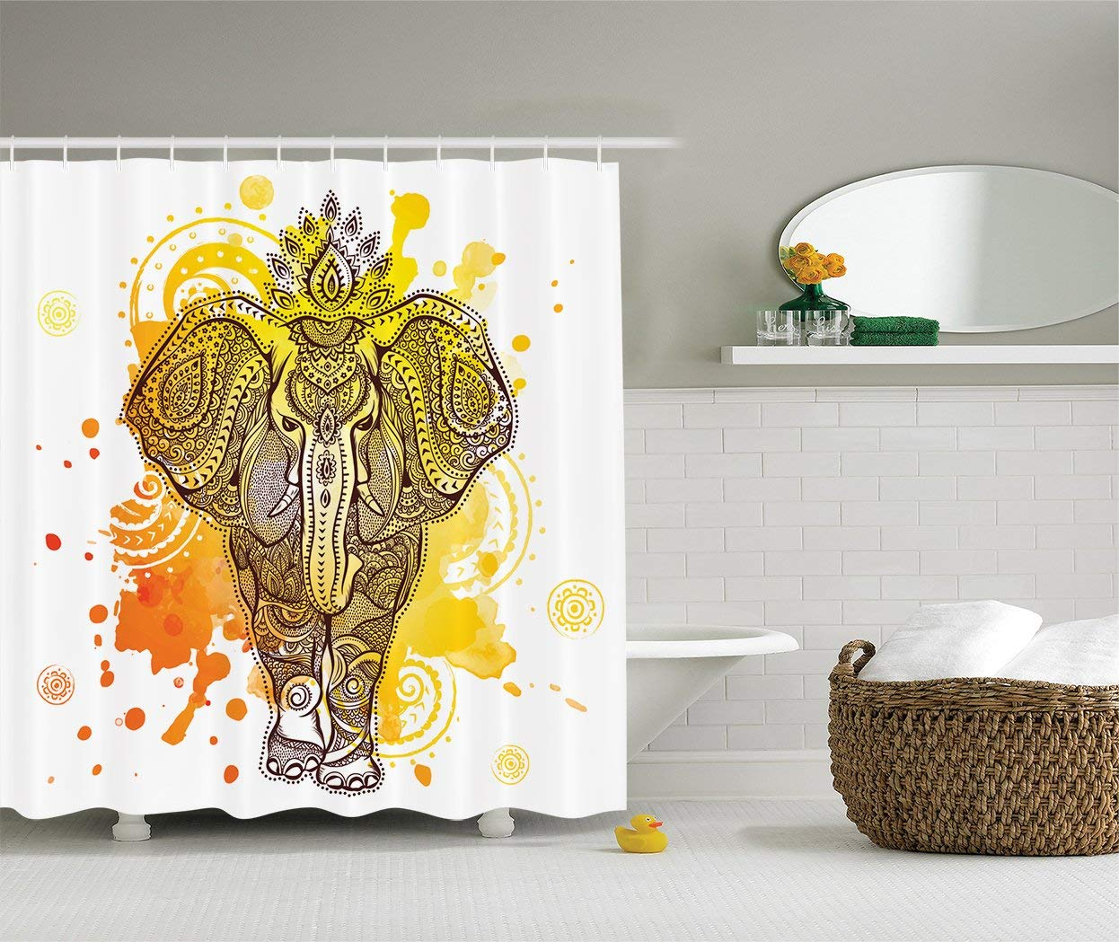 Watercolor Splash Art Decor Shower Curtain Vintage Wild Aztec ...