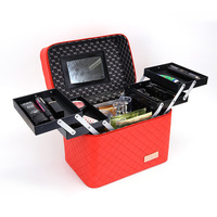 Multi functional Cosmetic Storage Bags Large Capacity Makeup Case Travel Organizer PU Casual Zipper Design