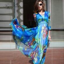 2019 Women Pleated Dress Real silk Dresses Plus size Elegant High waist style vestidos de fiesta noche