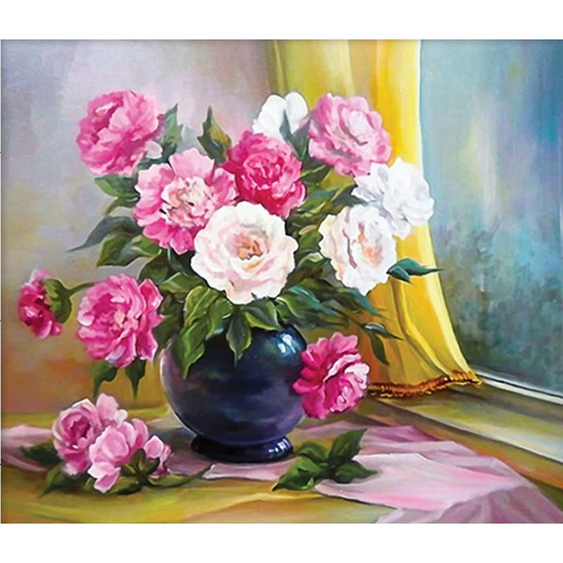 arreglo de flores de pintura llena de diamantes diamante redondo bordado fotos hecho a mano de