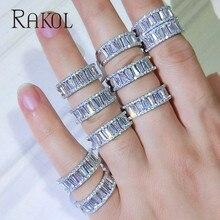 RAKOL Top New Fashion AAA Cubic Zircon Baguette Finger Rings Copper Base for Women Wedding Jewelry Gift RR146K