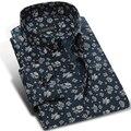 Мода Печати Цветочные Мужчины Хлопок Повседневная Рубашка Марка Высокое Качество с длинным Рукавом Turn Down Воротник Мужской Рубашки Платья Плюс Размер 4XL