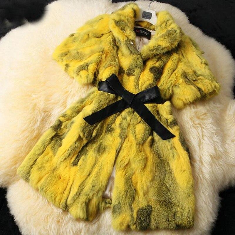 jaune Réel Nouvelle 2018 bleu Ciel Lapin rose rouge Nature Hiver Chaud De Veste Manteau noir Femmes Outwear Mode Fourrure Marron pu Tq5w5Cd