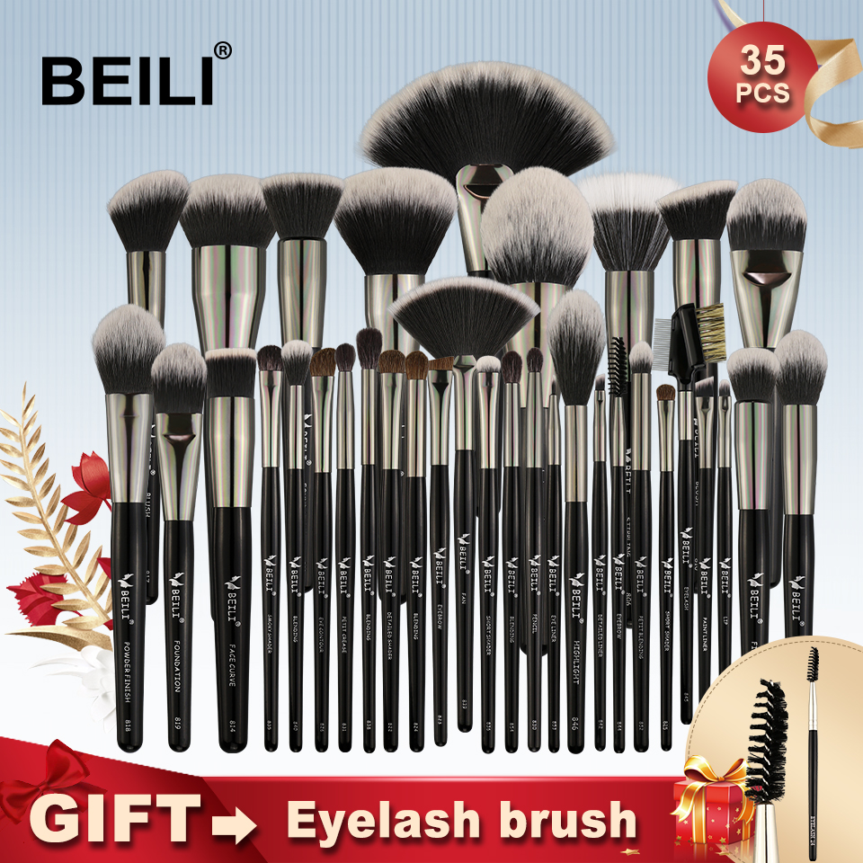 BEILI Black 35 Pieces Makeup Brushes Set Professional Soft Natural bristles Blending Eyebrow Concealer Cream Foundation