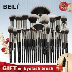 BEILI Black 35 Pieces Makeup Brushes Set Professional Soft Natural bristles Blending Eyebrow Concealer Cream Foundation Powder