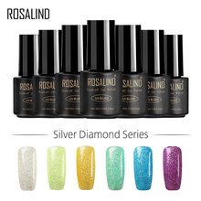 Rosalind Gel 1S 7 Ml Silver Diamond Kuku Gel Polandia Glitter Warna UV LED Manikur Rendam Off Semi Permanen lucky Nail Art Lacquer(China)