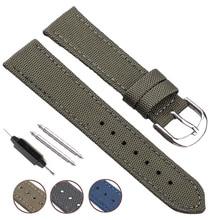 Canvas Nylon Watch Band Strap Blue Black Green 18 20 22 24mm Watchbands Men Women Fashion Replacement Bracelet Watch Accessories все цены