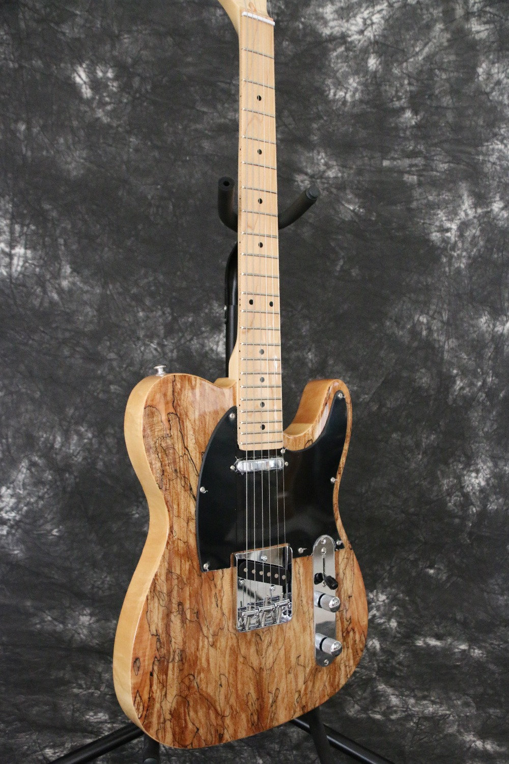 Spalted Maple Top String through Body Tele cast Electric guitar Guitarra All color Available ash wood body matt black finish tele electric guitar guitarra all color accept