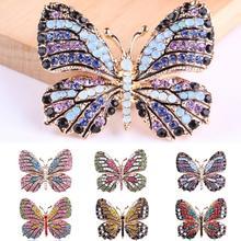 Модные бабочки броши для женщин идеальные Стразы хиджаб с кристаллами булавки Рождественский подарок Броши