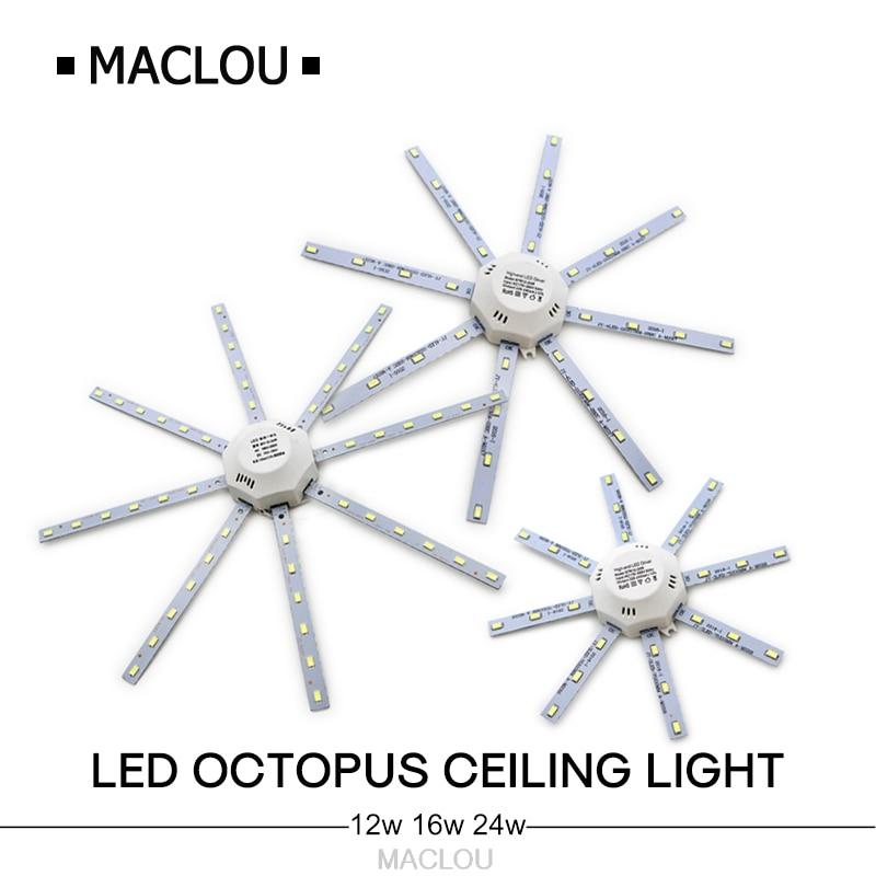מנורת תקרת LED מוארת גבוהה חיסכון באנרגיה צינור מנורה מקורה Plafon 12 W 16 W 24 W 220 V לוח PCB שינוי נורות צלחת הנורה