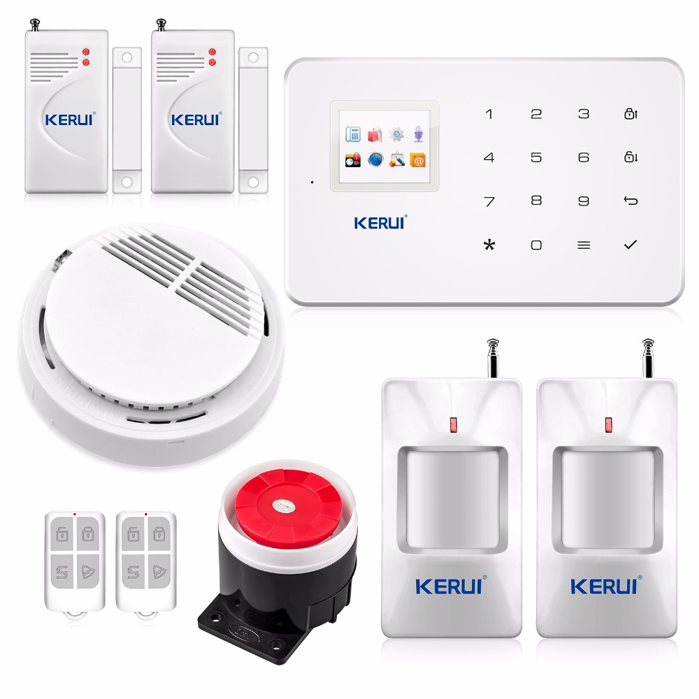 Kerui Wireless  GSM Text Home Alarm SystemSmart Security with PIR Sensor Door Sensor Smoke LPG LCD Detector