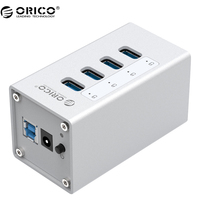 ORICO A3H4 High Quality Powerd 4 Port Aluminum USB 3.0 HUB For Laptop Silver