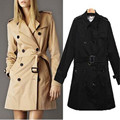Hot 2017 Classic British Trench Coat For Women Female Belted Double Breasted Fashion Slim Fit Turn-down Collar Women's Coat