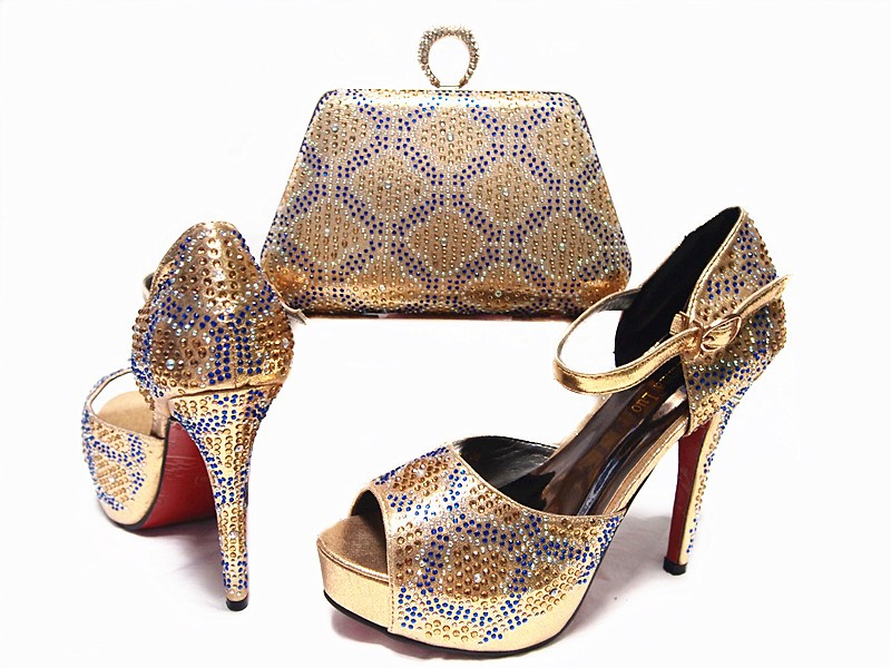 ФОТО New Arrival Africa Woman Shoes And Bag Set Fashion High Heels Shoes And Matching Bag Set For Wedding Party Gold Color JA10-2