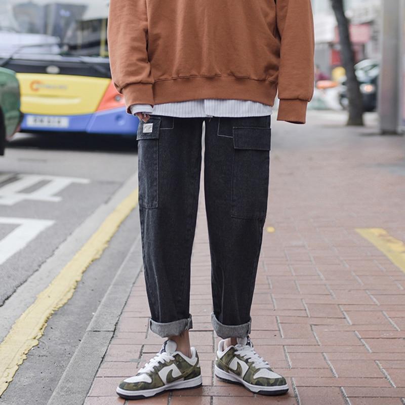 2018 Mens Newest Fashion Trend Loose Wide Leg Casual Haren Pants Restore Baggy Homme Classic Black Jeans Brand Trousers M-2XL