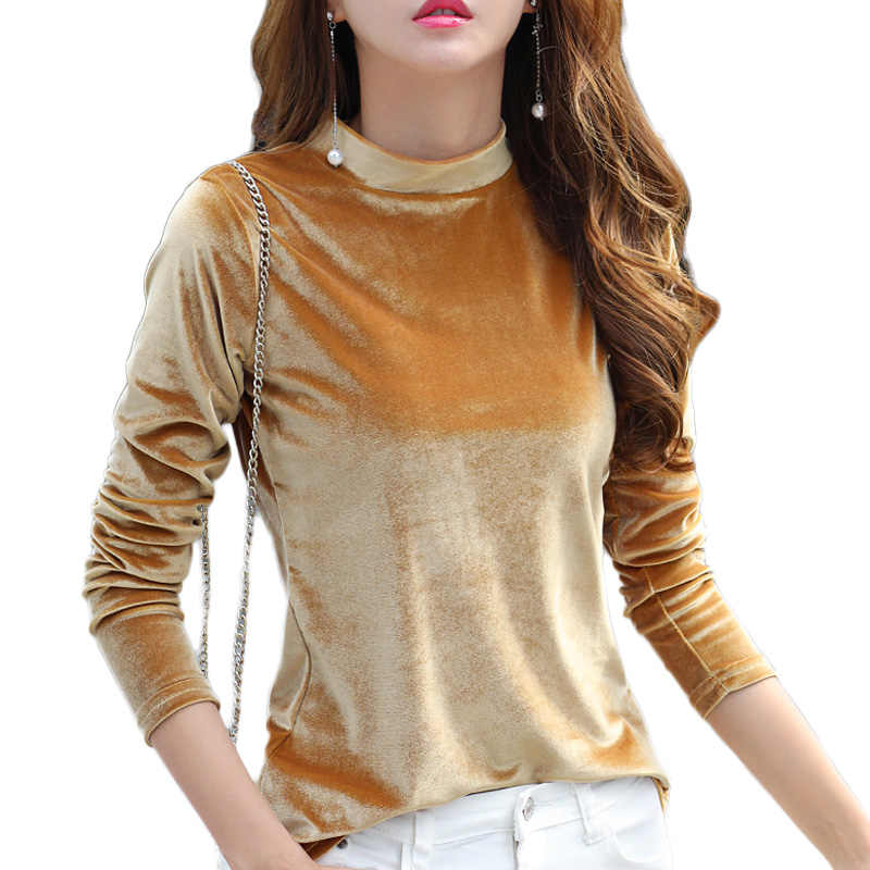 665eee7f3b65d7 2018 England Style T Shirt Women Winter Female High Quality Long Sleeve  Tees Top Stand Neck