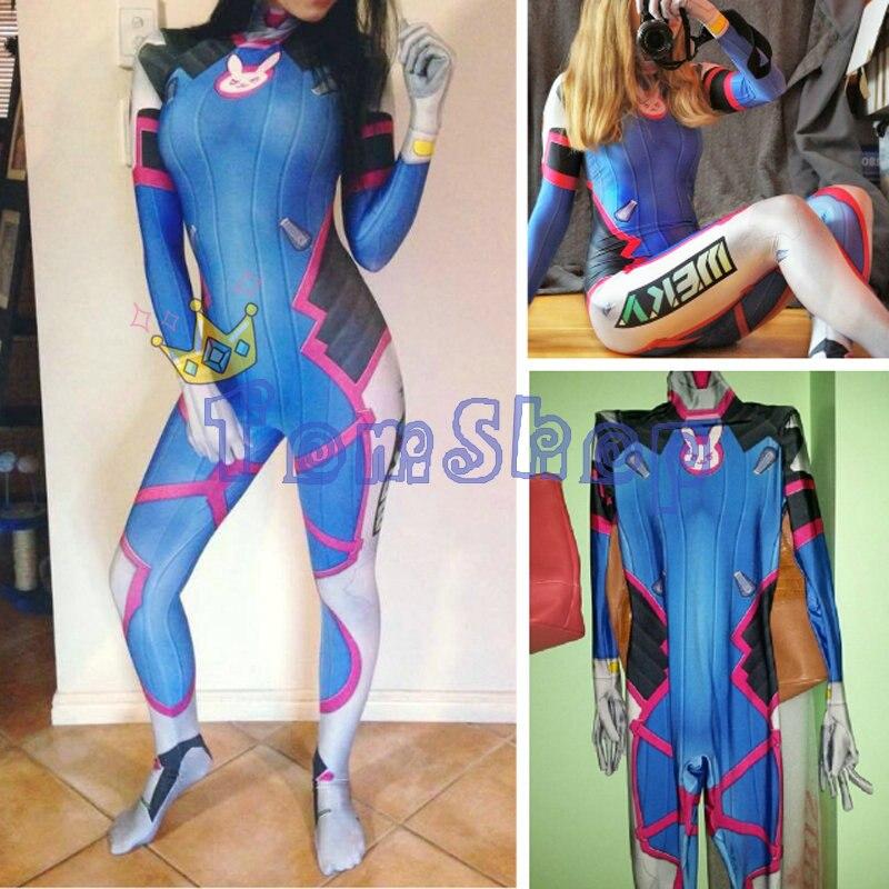 все цены на D VA Costume Zentai Suit Women Girls Halloween Cosplay Catsuit Lycra Spandex Digital Print Bodysuit Jumpsuit