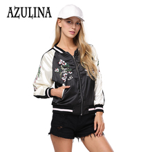 AZULINA Embroidery Floral Bomber Jacket Autumn Spring Women Flower Baseball Souvenir Basic Jackets Female Casual 2017 Black Soft