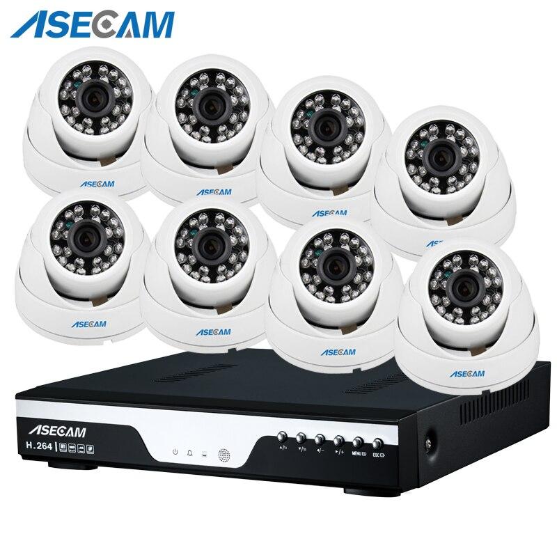 НОВЫЙ HD 1080 P POE NVR CCTV системы Белый Черный купол домашние IP камера Onvif видеонаблюдения приложение PC P2P удаленного просмотра