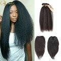 8A Brazilian Kinky Straight Hair with Closure Yaki Straight Hair Weave Coarse Yaki Human Hair Brazilian Virgin Hair with Closure