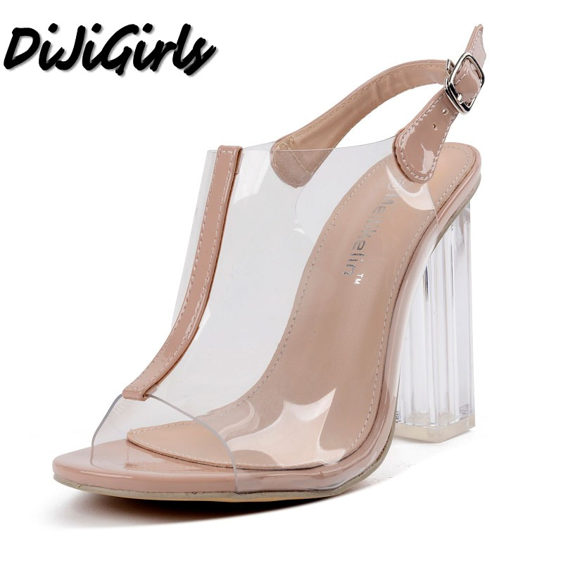 DiJiGirls new women peep toe sandals ladies PVC thick high heels shoes woman Crystal Clear Transparent strap party star shoes new women gladiator sandals ladies pumps high heels shoes woman clear transparent t strap party wedding dress thick crystal heel