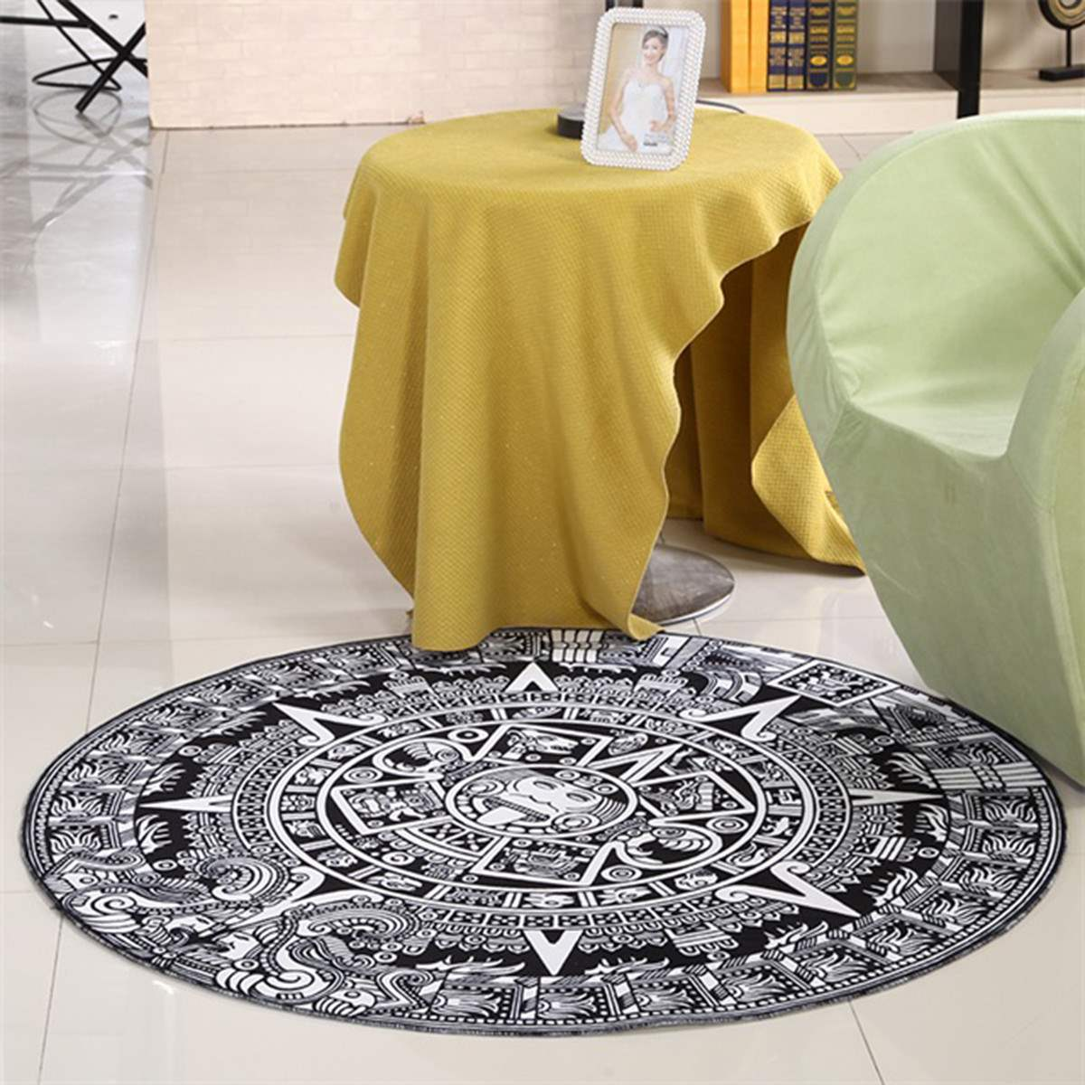 120cm Carpet Gems Fantastic Totem Round Mat Printed Soft Black White Bath  Rugs Kids Doormats For