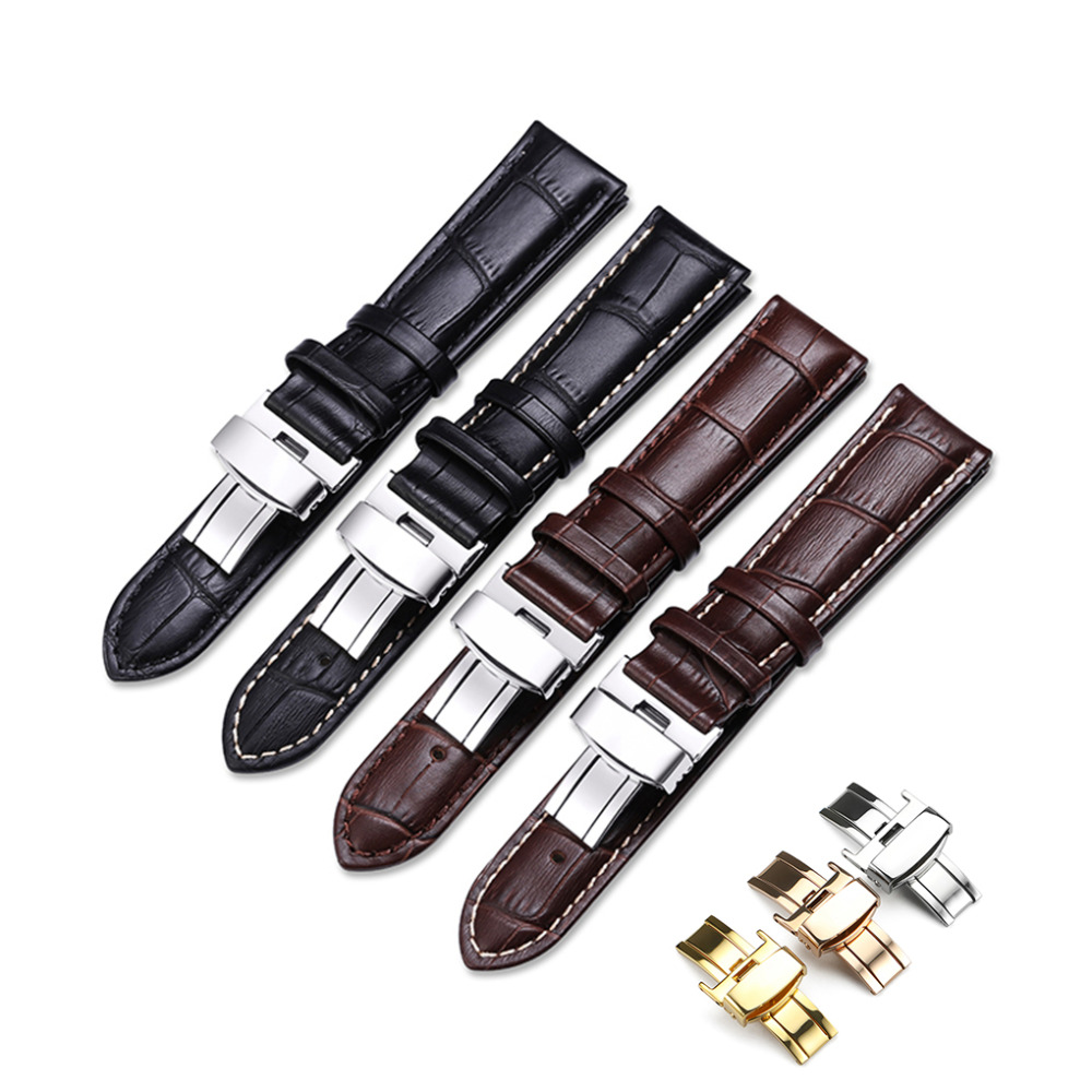 iStrap Pulseira Genuine Calf Leather Bracelet Black Brown Watch Band Padded Strap 16mm 18mm 20mm 22mm Watchband Belt for Tissot цена