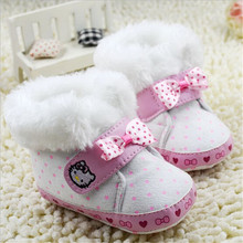 2015 Lovely Hello Kitty Baby Winter Shoes Kids Newborn Warm Prewalker Boots Antislip Infants Bebe Shoes