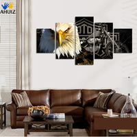 High Qinghot Selling Owl Motorcycle Fashion Print Canvas Painting For Office Living Room Home Decoration Free