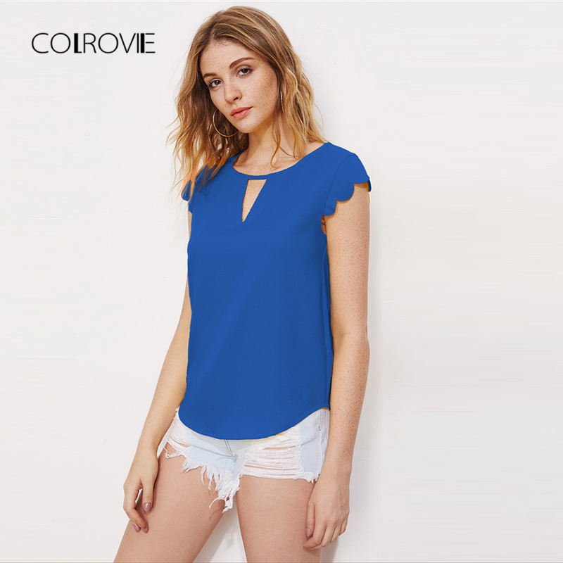 COLROVIE Blue Cap Sleeve V Notch Front Scallop Dolphin Blouse Shirt 2018 New Summer O-Neck Solid Casual Blouse Women Clothing