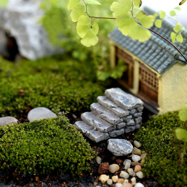 Gray Stone Step Path Stair Miniature Fairy Garden Home Houses Decoration  Mini Craft Micro Landscaping Decor