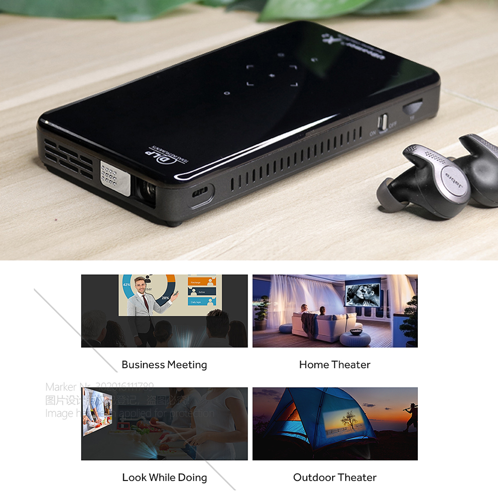 AUN MINI projecteur X2, Android 7.1OS WIFI (commande vocale en option, RAM: 2G ROM: 16G) prise en charge 1080 P, HDMI, projecteur 3D Portable no 4 K - 3