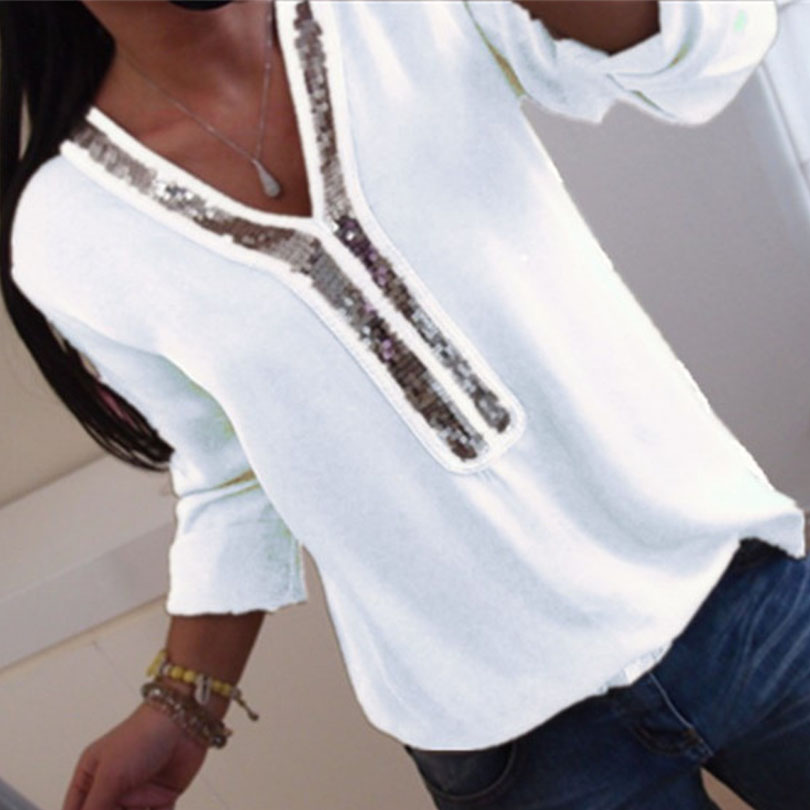 Fall <font><b>Women</b></font> TShirt 2019 <font><b>Sexy</b></font> V-neck Long-sleeve Sequined T-<font><b>Shirts</b></font> <font><b>Gothic</b></font> Casual Long Sleeve Loose Chiffon <font><b>Shirt</b></font> Plus Size Top 5XL image