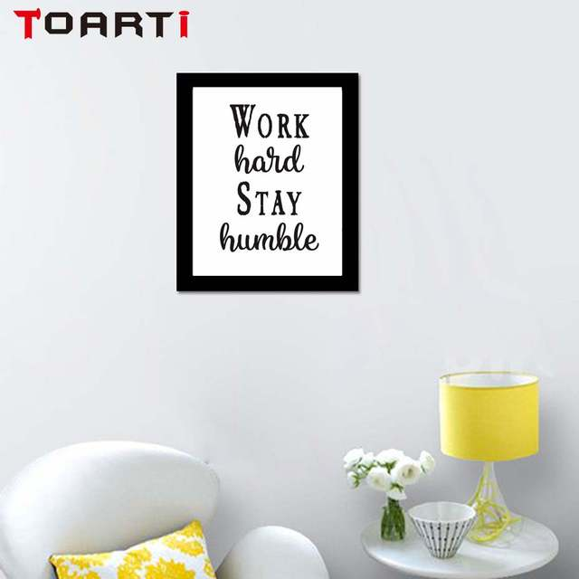 Us 1 14 9 Off Work Hard Stay Humble Quote And Poster Print Wall Canvas Painting Picture For Living Room No Frame Wall Paint In Painting