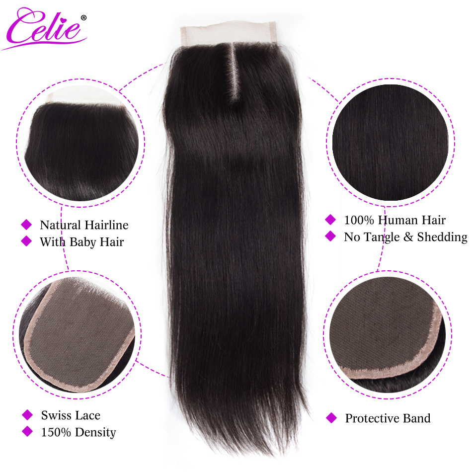 Image 2 - Celie 6x6 Lace Closure Straight Human Hair Closure With Baby Hair Free/Middle/Three Part Remy Brazilian Hair Lace Top Closure-in Closures from Hair Extensions & Wigs