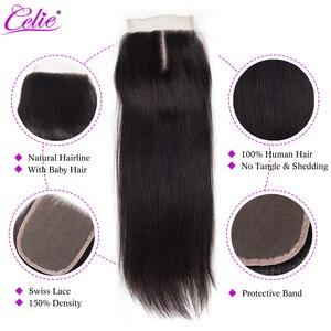 Image 2 - Celie Cierre de encaje de cabello humano liso, cierre de pelo humano, 6x6, sin pelo de bebé/medio/tres partes, pelo brasileño Remy, cierre superior de encaje
