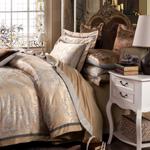 4pc Gray gold Jacquard bedding sets queen king size duvet cover set Silk Cotton blend Fabric luxury bedlinen