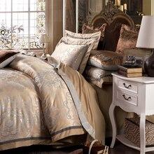 Роскошный шелковый Постельное бельё Broderie постельное белье Тенсел постельное Draps набор жаккардовые постельное белье Full/Queen/King Размеры кровать Крышка