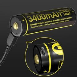 NITECORE NL1834R 3400mAh عالية الأداء مايكرو-USB قابلة للشحن بطارية ليثيوم أيون 12.24Wh 3.6V زر أعلى 18650 المحمية البطارية