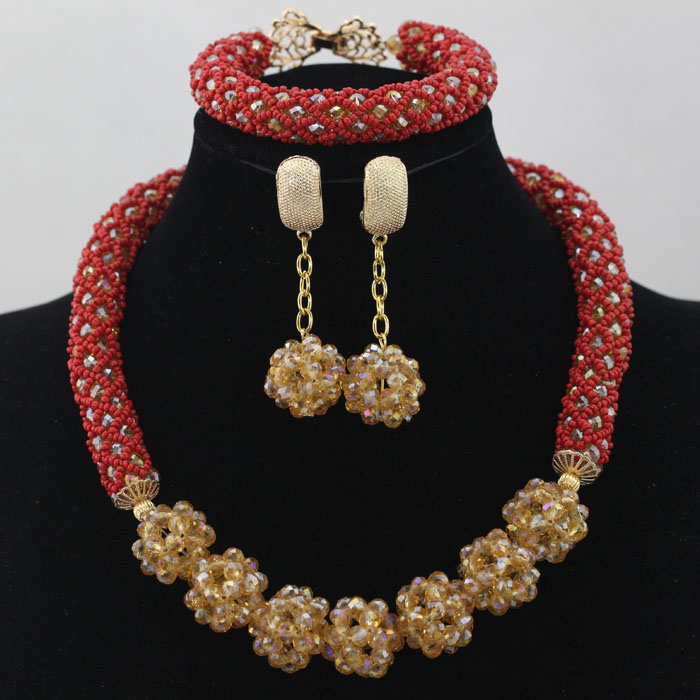 New Champagne Gold Crystal Bead Necklace Dangle Earrings Set ...