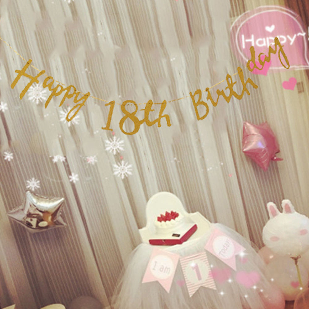 gold happy birthday bunting banner 18th 21st 30th 40th party decoration 150cm 2017 birthday party number - Cheap Party Decorations
