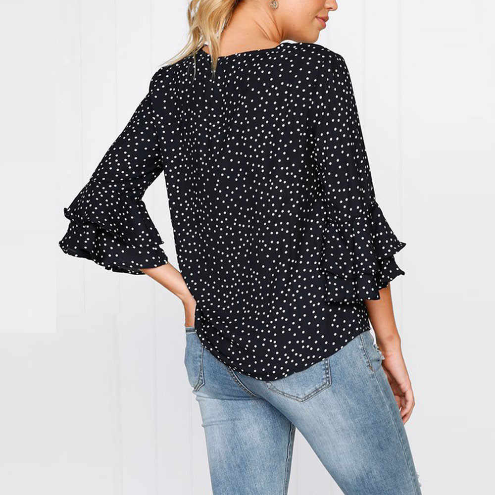 bc8d3564d87425 ... Fashion Women s Bell Sleeve Blouse Winter Loose Polka Dot Shirt Ladies  elegant Party Blouse plicated Casual ...