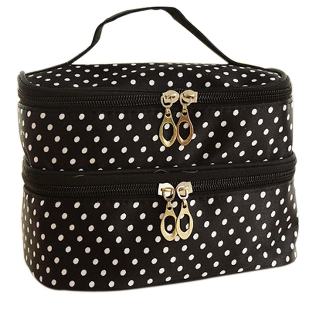 New Fashion Double-deck Travel Toiletry Beauty Cosmetic Bag Makeup Case Organizer Zipper Holder Handbag
