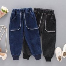 DIIMUU New Fashion Baby Boys Girls Jeans Loose Elastic Waist Pockets Casual Trousers Children Clothing Denim Pants Fit 2-6 Years
