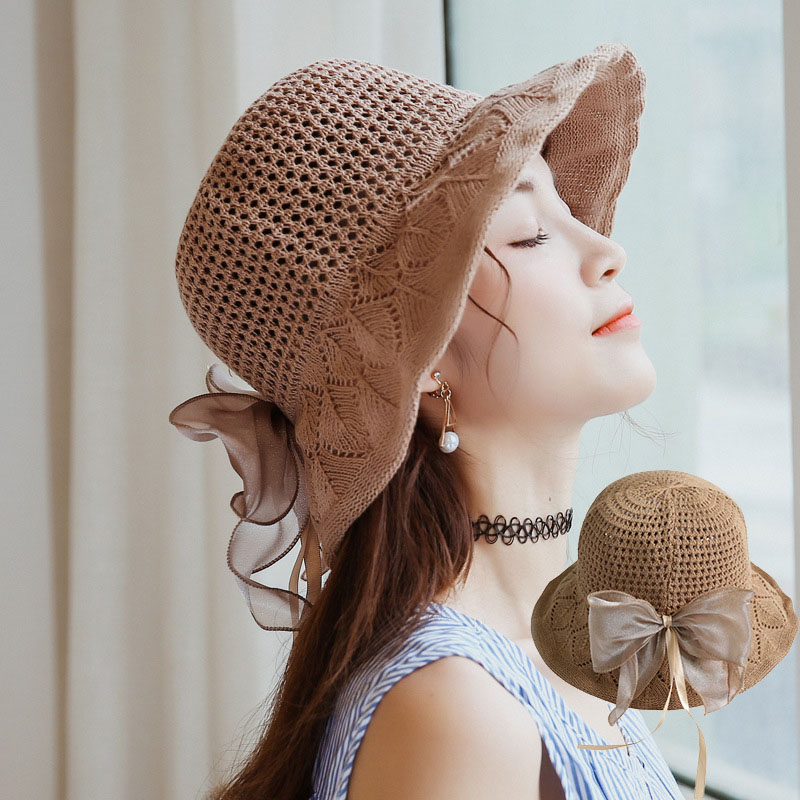 Cotton Linen Breathable Sun Hats For Women Summer Fashion Uv Protection <font><b>Cap</b></font> <font><b>Sexy</b></font> Bow Retro Ruffled Straw Hat Elegant Women Visor image