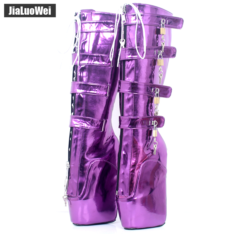 jialuowei 18CM Extreme High Heel Platform Lace-up Lockable Zip Padlock Buckle Strap Sexy Fetish Knee-High Boots Metallic Purple jialuowei brand 18cm extreme high heel fetish sexy wedges lace up buckle heelless ballet boots unisex lockable knee high boots