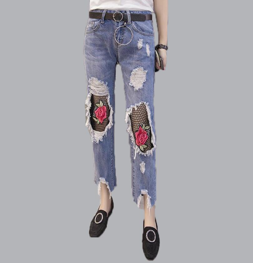Lace Hollow Out Jeans Women Ankle-length Pants Summer Sexy Loose Floral Embroidery Harem Pants Ripped High Waist Pencil Pants lace embroidery jeans ripped hole straight harem pants women ankle length pants fashion high waist loose plus size pencil pants